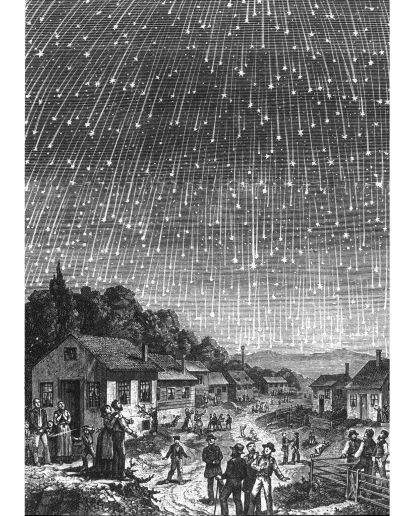 Holzschnittdarstellung des Meteoritensturms von 1833 von Elsevier / M. Littmann